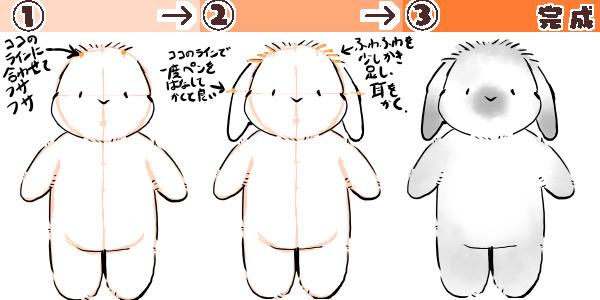 たれ耳のウサギの描き方の図