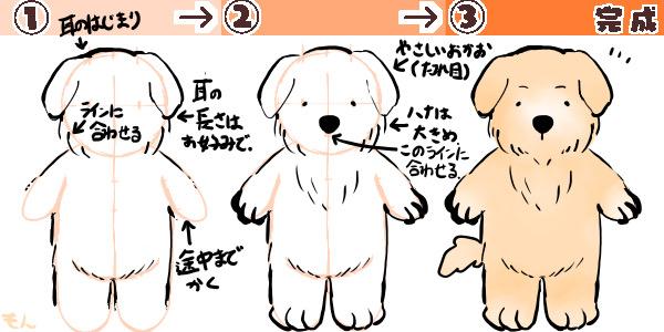 犬(たれ耳)の描き方の図