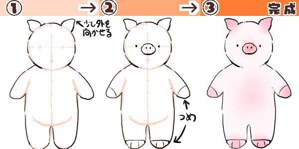 ぶたの描き方の図