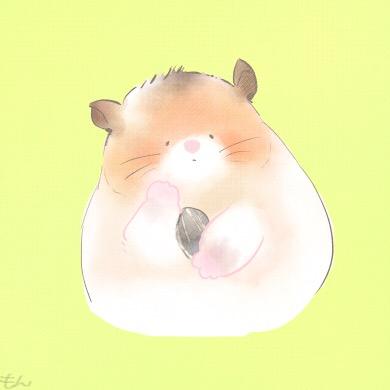 ほのぼのとした絵柄のハムスター